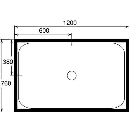 760 x 1200 4 lip center waste shower tray
