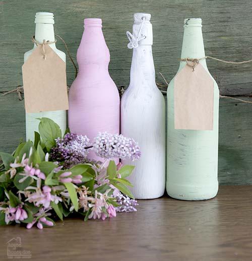 chalk paint on wine bottles