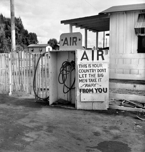 Gas Station, Kern County, California (Lettuce Strike) - Photo by Dorothea Lange. Printed by Seth Dickerman