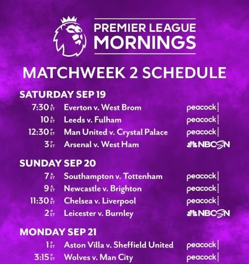 EPL commentator assignments on NBC Sports, Gameweek 2 - World Soccer Talk