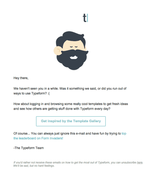 A Re-engagement Email Example from Typeform