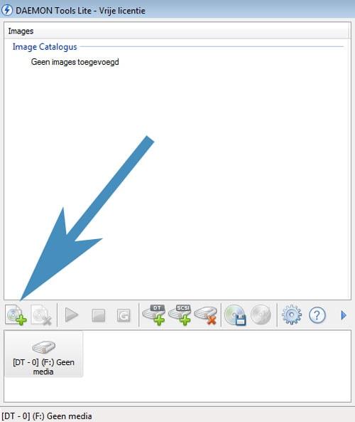 Klik op het groene + teken om een ISO toe te voegen.