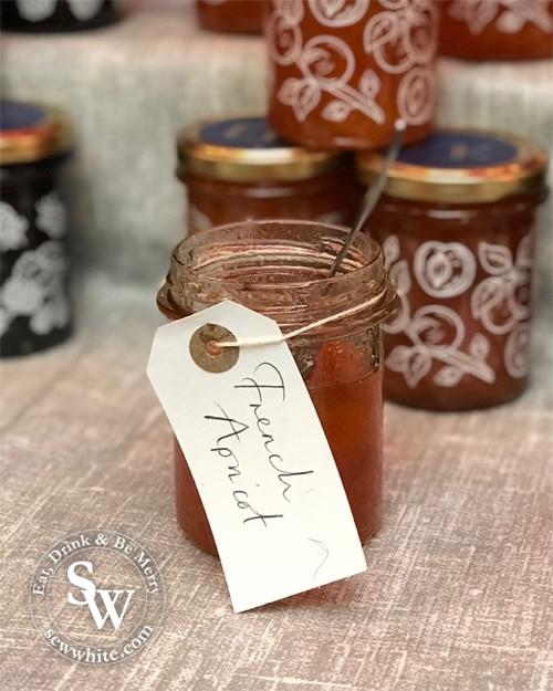 Close up French Apricot jam at the Wimbledon Winter Wonderland.