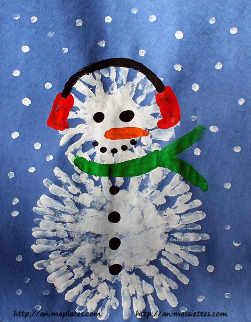 Finger painted snowman