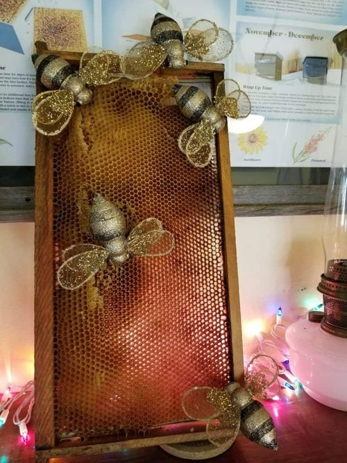 Christmas Wreath, Honey Bee Wreath, Bee Ornaments, Walmart ornaments