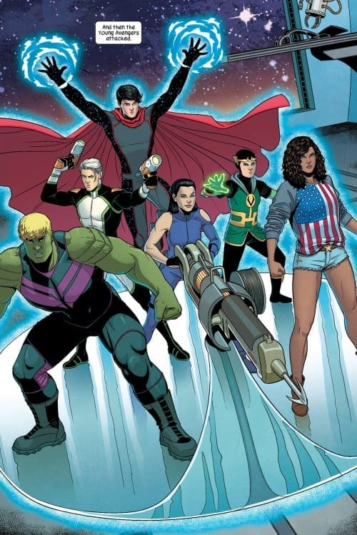 Hulkling, Wiccan, Kate Bishop Hawkeye, Marvel Boy, Prodigy, America Chavez, Loki, Kid Loki, Speed, Patriot, Marvel Comics, LGBTQIA+, LGBT, Pride Month, Queer Characters, First Kiss, Marvel NOW!, Queer representation, Wanda, Vision, David Bowie, Jack Kirby, Andy Warhol