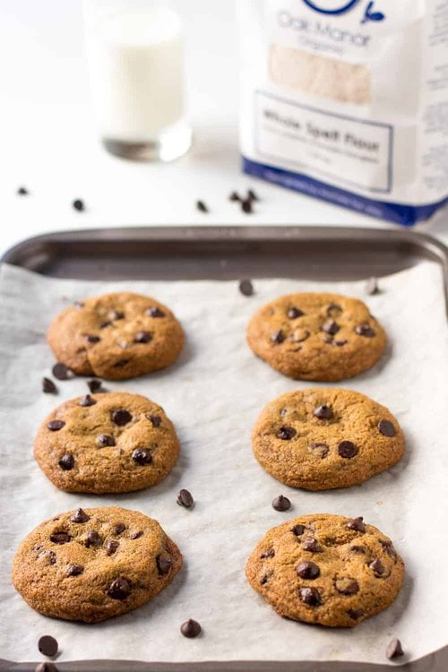 Baked Spelt Chocolate Chip Cookies