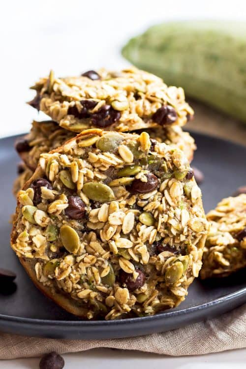 Zucchini Breakfast Cookies stack on black plate