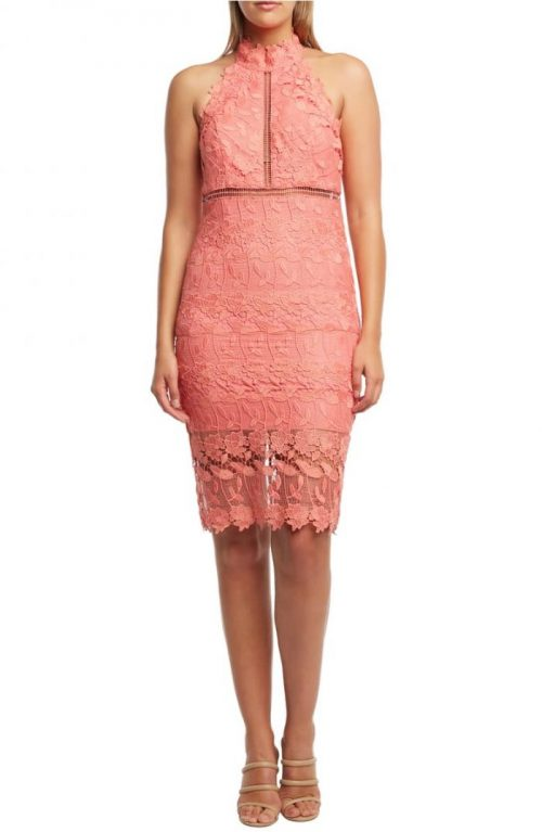 lace coral dress for summer parties | 40plusstyle.com