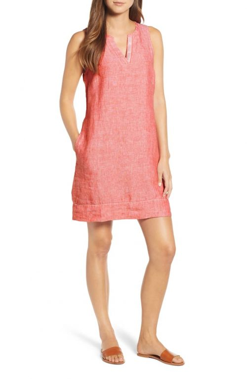 coral dress for summer vacation | 40plusstyle.com