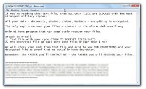 Screenshot del file di testo generato dal Trojan