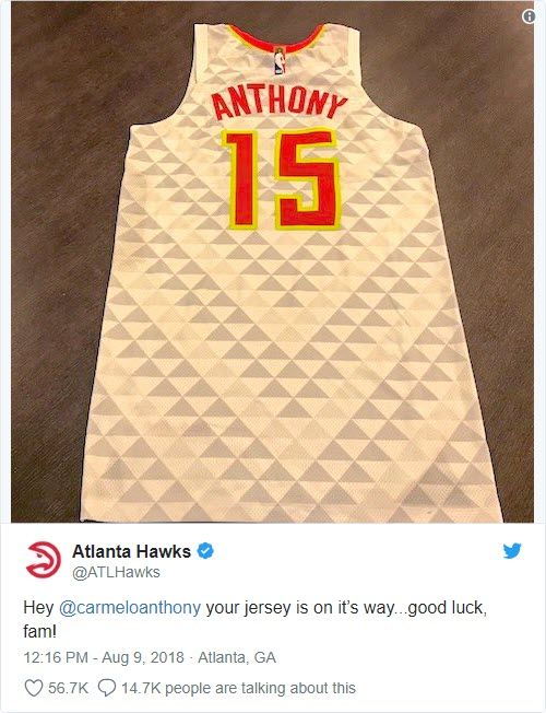 Carmelo Anthony asks for and receives free Atlanta Hawks jersey - Bent Corner