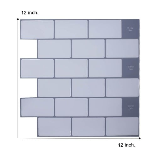 peel and stick white subway tile with grey grout