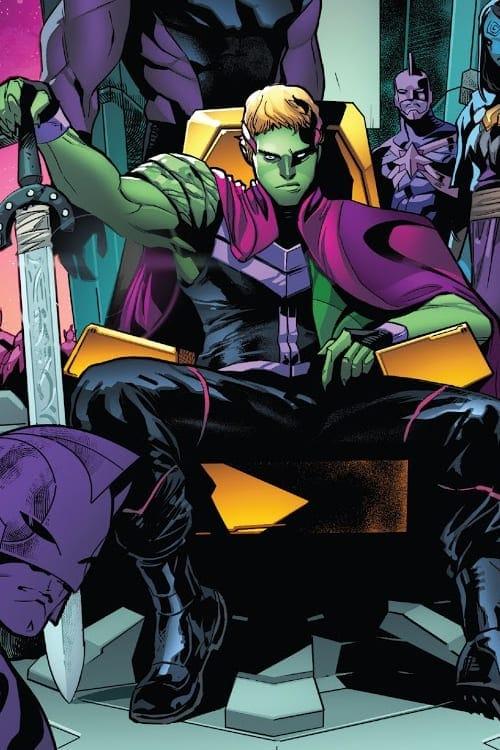 Image: Avengers/FF: Empyre #1, Fantastic Four, Iron Man, Thor, Captain America, Ghost Rider, Captain Marvel, Black Panther, She-Hulk, Swordsman, Cotati, Kree, Skrull, Kree/Skrull War, Marvel Comics, Dan Slott, Al Ewing, Valerio Schiti