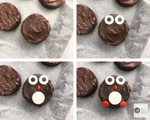 Penguin brownies collage