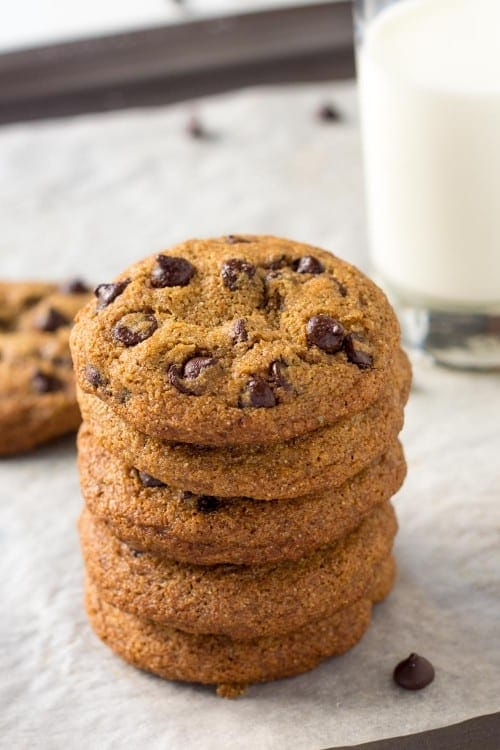 These whole grain Spelt Chocolate Chip Cookies are a clean eating dessert made with coconut oil and unrefined sugar.