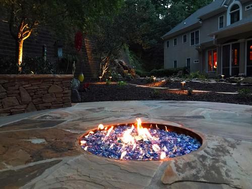 blue firepit in backyard