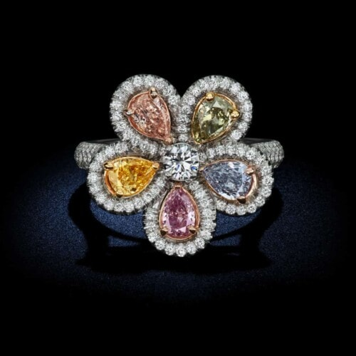 pear-shaped-mixed-fancy-color-diamond-flower-ring