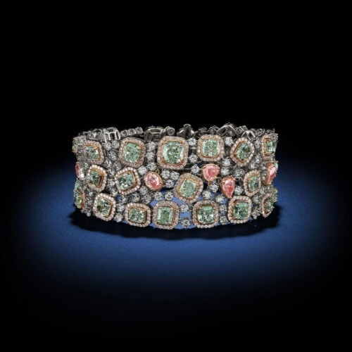 natural-fancy-green-fancy-pink-diamond-bracelet