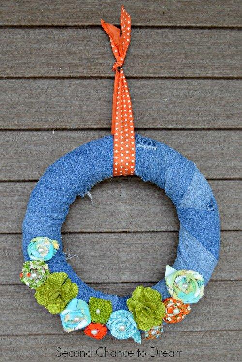 Denim Wreath hung