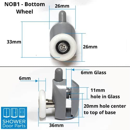 NOB1 bottom dimensions Shower Door Parts