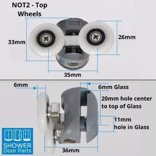 NOT2 top dimensions Shower Door Parts