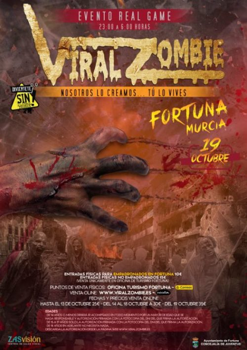 ENTRADAS VIRAL ZOMBIE 19 OCTUBRE FORTUNA (MURCIA)