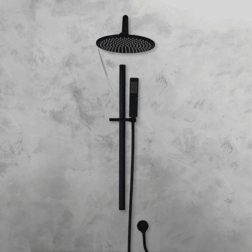 Uri Oval Shower Rail - Matte Black