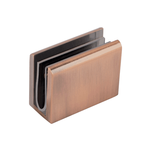 Pius Glass Panel Clip - Brushed Copper