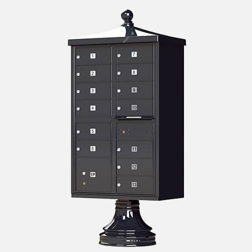 tall cluster mailbox with ball finial