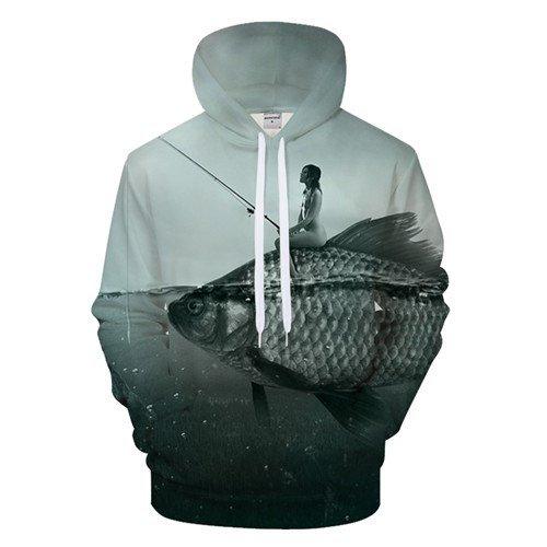 Chill Hoodies Girl Fishing Hoodie Girl Sat On Fish Unisex Adult Sweatshirt
