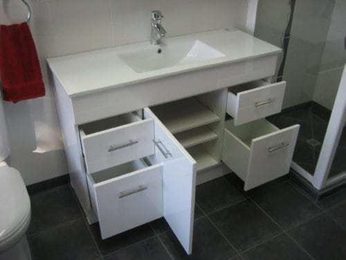 Albion bathroom vanity 1200 open drawers