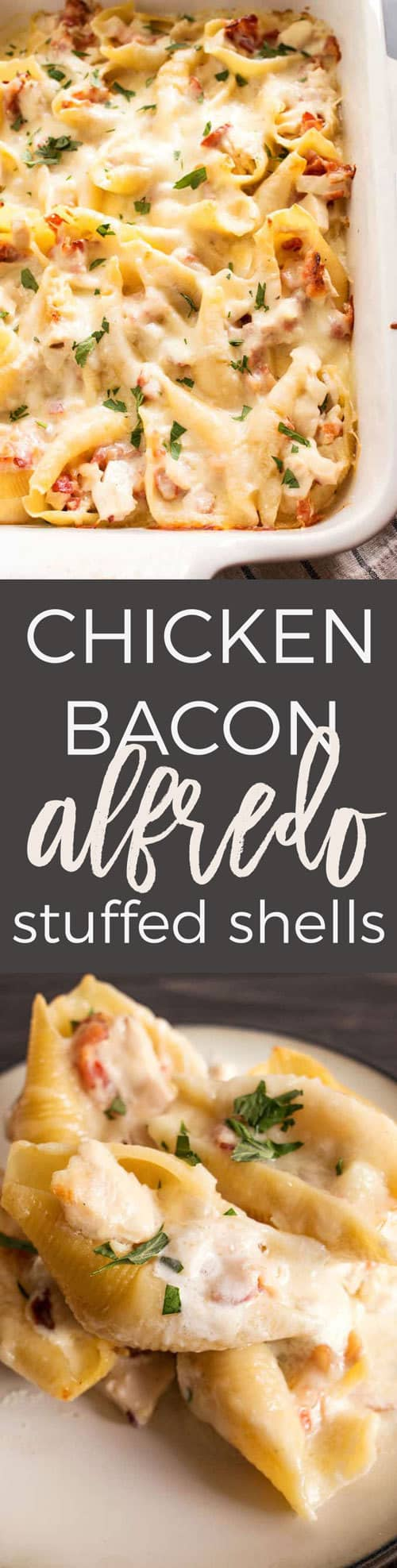 Chicken Bacon Alfredo Stuffed Shells pin
