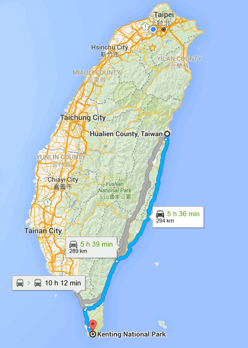 Map of Taiwan Hualian to Kenting