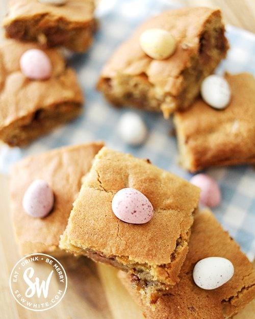 Mini Egg Cookie Traybake studded with mini eggs. 25 Recipes Using Mini Eggs