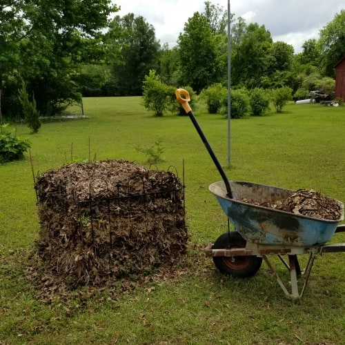Compost Pile with blue wheel barrow and shovel