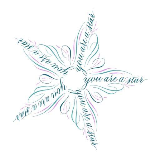 Kalligraferen in vorm ster Creative Life