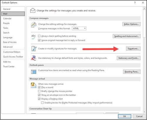 Arrow pointing location of Signatures button in Mail options.