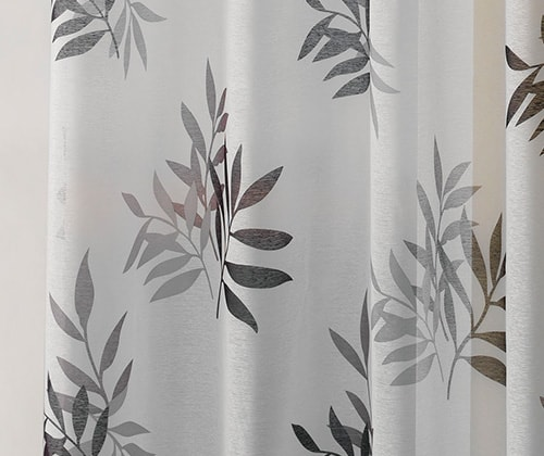 Bamboe antraciet gordijn detail