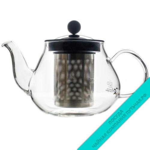 Купить чайник с метал. крышкой 600 мл (с метал. ситом) из стекла
