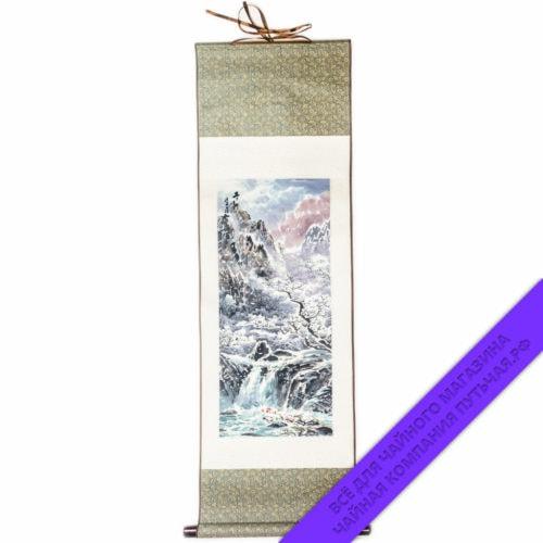 Купить среднюю шёлковую картину с пейзажем 30х92 Китай