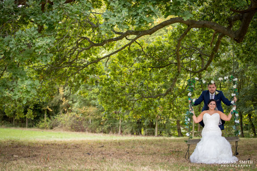 Bride and Groom at Hookhouse Farm Swing 1