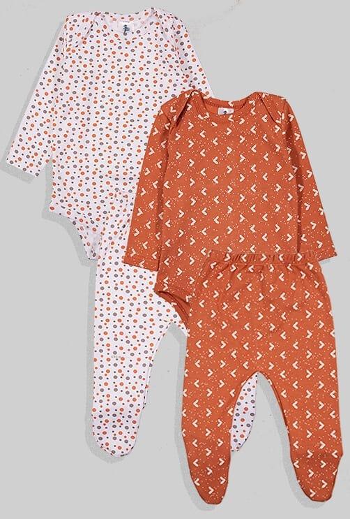 שני סטים בגדי גוף ורגליות פלנל - משולשים נקודות - חום ולבן (0 -2.5 שנים)
