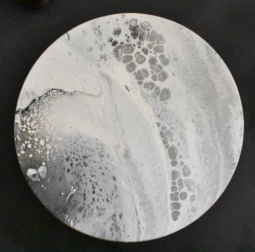 dirty-cup pour technique moon painting on wood complete