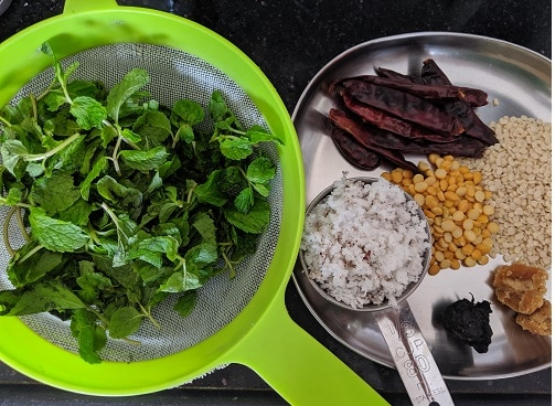 Ingredients for Pudina Thogayal