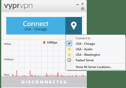 VyprVPN server selection dropdown