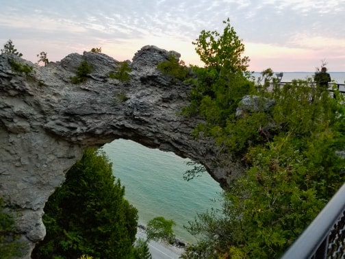 Arch Rock Mackinac Island at sunrise