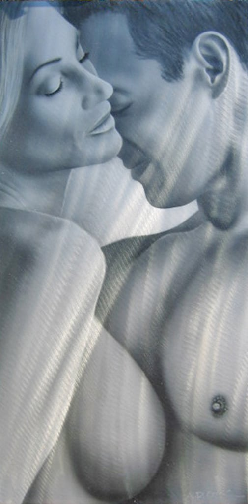 COUPLE BW art nude on metal by A.D. Cook