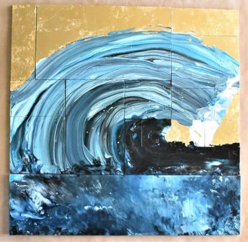 Large wave painting with gold leaf background