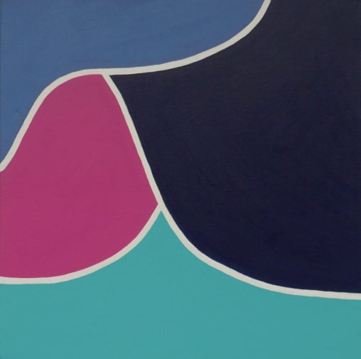 pink, turquoise, purple and navy abstract art